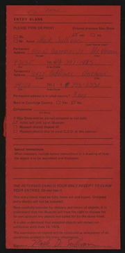 Entry card for Sullivan, Mark for the 1975 May Show.