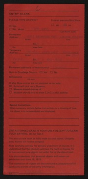 Entry card for Wall, Sue for the 1975 May Show.