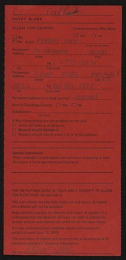 Entry card for Wick, Robert for the 1975 May Show.