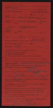 Entry card for Wilcox, James E., Jr. for the 1975 May Show.
