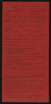 Entry card for Winston, Maxine for the 1975 May Show.