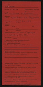 Entry card for Wooddell, Joseph M. for the 1975 May Show.