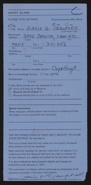 Entry card for Crawford, Garie W. for the 1976 May Show.