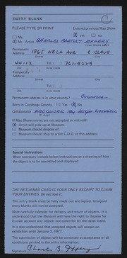 Entry card for Jeffery, Charles Bartley, and Wooddell, Joseph M. for the 1976 May Show.