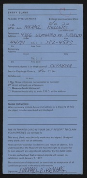 Entry card for Kellers, Michael for the 1976 May Show.