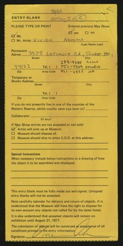 Entry card for Abrams, Vivien Joy for the 1977 May Show.