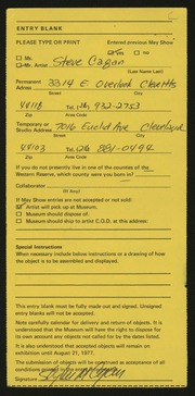 Entry card for Cagan, Steve for the 1977 May Show.