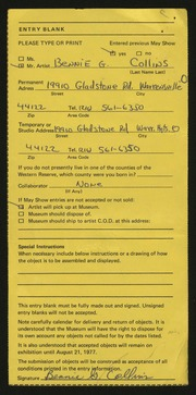 Entry card for Collins, Bennie G. for the 1977 May Show.