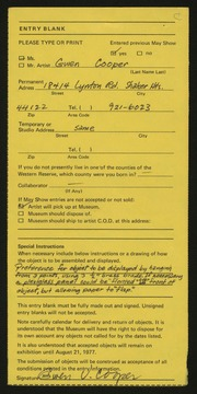 Entry card for Cooper, Gwen Voran for the 1977 May Show.