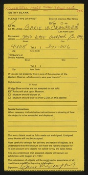 Entry card for Crawford, Garie W. for the 1977 May Show.