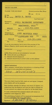 Entry card for Davis, David D. for the 1977 May Show.