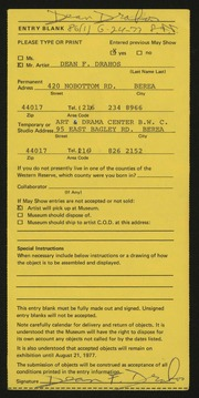 Entry card for Drahos, Dean Franklin for the 1977 May Show.