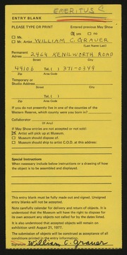 Entry card for Grauer, William C. for the 1977 May Show.