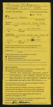 Entry card for Hansen, Alice Jean for the 1977 May Show.