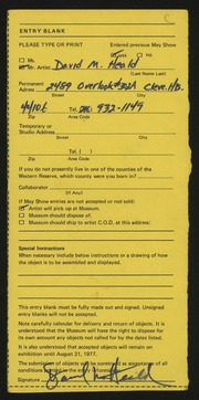 Entry card for Heald, David M. for the 1977 May Show.