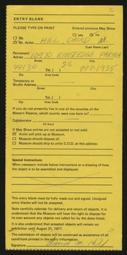 Entry card for Hill, David Murl for the 1977 May Show.