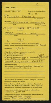 Entry card for Ingalls, Eve for the 1977 May Show.