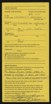 Entry card for Johnson, Sherman T. for the 1977 May Show.