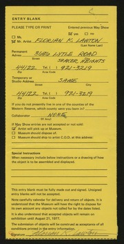 Entry card for Lawton, Florian K. for the 1977 May Show.