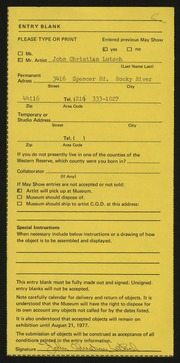Entry card for Lutsch, John C.  for the 1977 May Show.