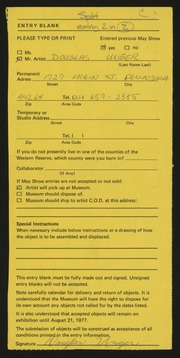 Entry card for Unger, Douglas Lee for the 1977 May Show.