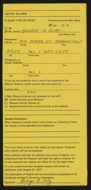 Entry card for Roby, George A. for the 1977 May Show.