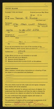 Entry card for Roese, Thomas R. for the 1977 May Show.