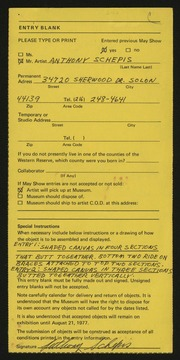 Entry card for Schepis, Anthony Joseph for the 1977 May Show.