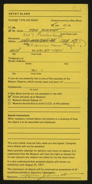 Entry card for Schmidt, Tom for the 1977 May Show.