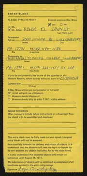 Entry card for Shipley, Roger D. for the 1977 May Show.