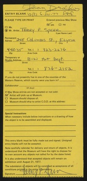 Entry card for Speer, Terry Paul for the 1977 May Show.