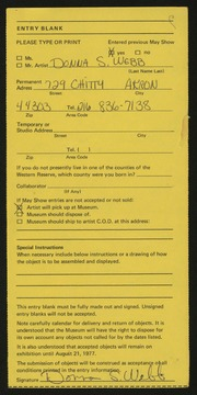 Entry card for Webb, Donna for the 1977 May Show.