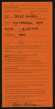 Entry card for Andres, Peter for the 1978 May Show.