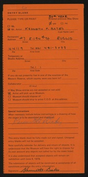 Entry card for Bates, Kenneth F. for the 1978 May Show.