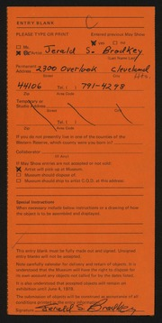 Entry card for Brodkey, Jerald Steven for the 1978 May Show.