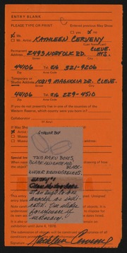 Entry card for Cerveny, Kathleen for the 1978 May Show.