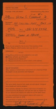 Entry card for Ciarrone, Victor S., Jr. for the 1978 May Show.