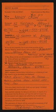 Entry card for Crow, Nancy, and Brill, Velma for the 1978 May Show.