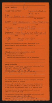 Entry card for Davis, David D. for the 1978 May Show.