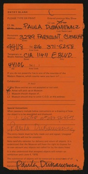 Entry card for Dubaniewicz, Paula Francis for the 1978 May Show.