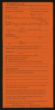 Entry card for Grauer, William C. for the 1978 May Show.