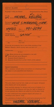 Entry card for Kellers, Michael for the 1978 May Show.