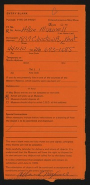 Entry card for Maxwell, Allan R. for the 1978 May Show.
