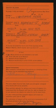 Entry card for Meyer, Christopher Powers for the 1978 May Show.