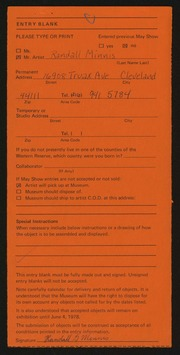 Entry card for Minnis, Randall for the 1978 May Show.