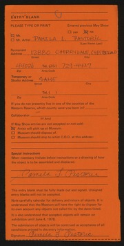 Entry card for Pastoric, Pamela L. for the 1978 May Show.