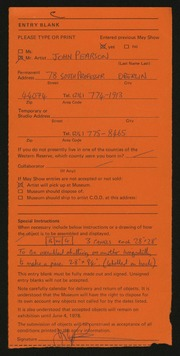 Entry card for Pearson, John for the 1978 May Show.