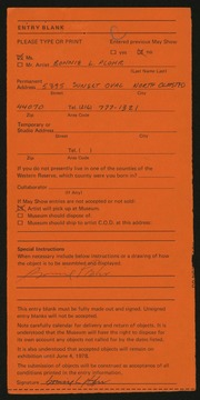 Entry card for Plohr, Bonnie L. for the 1978 May Show.