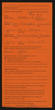 Entry card for Raz, Andrew A. for the 1978 May Show.
