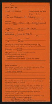 Entry card for Roese, Thomas R. for the 1978 May Show.